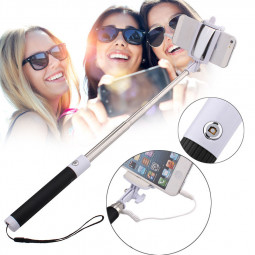 Handheld Wired Remote Selfie Stick Monopod Extendable Pole Holder -Black