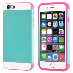 Contrast Color Case Skin Cover for iPhone 6 Plus 5.5 - Mint + Rose Red