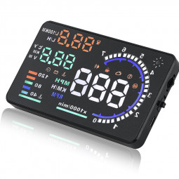 "A8 5.5"" Car HUD Head Up Display OBD II Speed Warning System Fuel Consumption"
