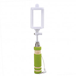 Super Mini Wired Foldable Selfie Stick Monopod - Green