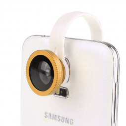 LX-C001 Universal Clip Fish Eye Lens 180 Wide Range for Mobile Phone iPhone - Gold