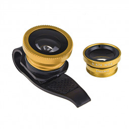 LX-P301 Universal 3 in 1 Fish Eye Lens Camera Kit Wide Angle Macro - Gold