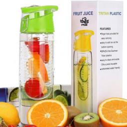800ML Fruit Cup Infusing Infuser Water Sport Health Portable Lemon Flip Lid Plastic Bottle - Green