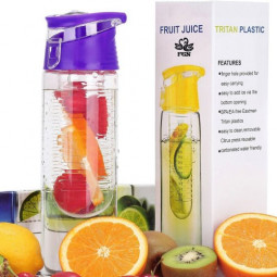 800ML Fruit Cup Infusing Infuser Water Sport Health Portable Lemon Flip Lid Plastic Bottle - Purple