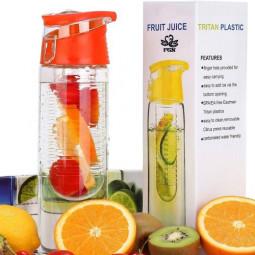 800ML Fruit Cup Infusing Infuser Water Sport Health Portable Lemon Flip Lid Plastic Bottle - Red