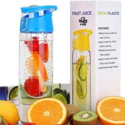 800ML Fruit Cup Infusing Infuser Water Sport Health Portable Lemon Flip Lid Plastic Bottle - Blue