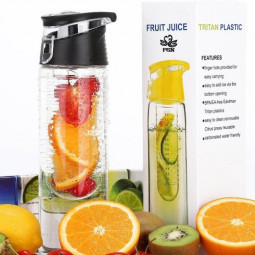800ML Fruit Cup Infusing Infuser Water Sport Health Portable Lemon Flip Lid Plastic Bottle - Black