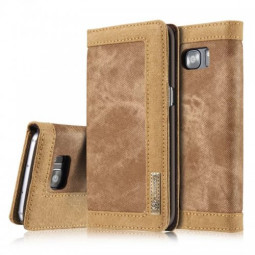 Denim Breathable Stand Flip Wallet Credit Card Cover Case for Samsung Galaxy S7 Edge - Brown