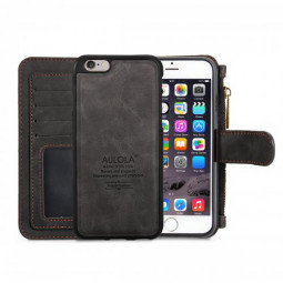 2-in-1 Genuine Leather Wallet Purse Flip Case Cover for iPhone 6 Plus - Black