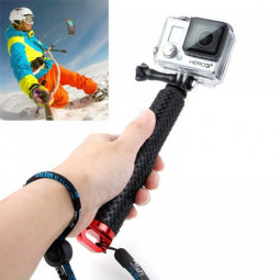 Handheld Extendable Pole Monopod Selfi Sticker with Screw for GoPro Hero 4/3+/3/2 - Red