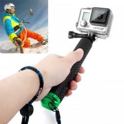 Handheld Extendable Pole Monopod Selfi Sticker with Screw for GoPro Hero 4/3+/3/2 - Green