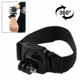 360 Degree Rotating Arm Hand Wrist Strap Band for GoPro Hero4/3+/3/2/1 - Black