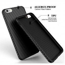 TPU Carbon Fiber Soft Phone Cover Case for iPhone 6 - Black