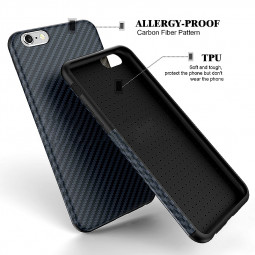 TPU Carbon Fiber Soft Phone Cover Case for iPhone 6 Plus - Dark Blue