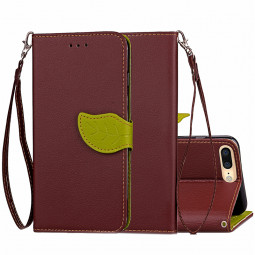 Fashion Leaf Pattern PU Leather Wallet Case Cover for iPhone 7 Plus - Brown