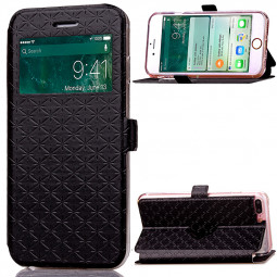 Fashion Plaid View Pattern PU Leather Wallet Case Cover for iPhone 7 Plus - Black