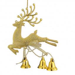 Christmas Xmas Tree Deer Jingle Hanging Decorations Baubles - Gold