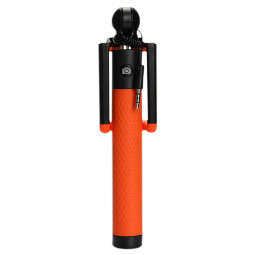 Mini Monopod Compact Wired Selfie Stick iPhone Samsung Holder - Orange