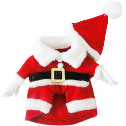 Pet Christmas Red and White Clothes Costume with Hat Set Apparel Puppy Dog Size XS