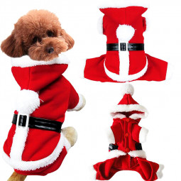 Pet Christmas Red and White Santa Costume Jumpsuit Clothes for Puppy Dog Size XS