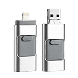 16G 3-in-1 USB Flash Drive for Apple iPhone USB Device U Disk - Silver