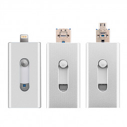 3 in 1 32G Flash Drive OTG USB U Disk Memory Stick for iPhone IOS Android iPad - Silver