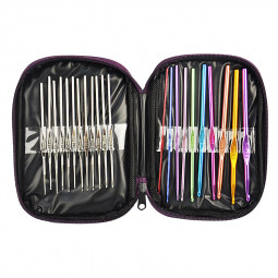 22pc Multicolour Aluminum Crochet Hooks Knitting Needles Set with Case