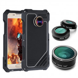 Samsung Galaxy S7 Camera Lens Kit with Dustproof Shockproof Aluminum Case - Black