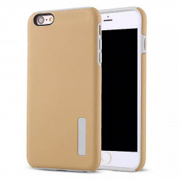 High Quality 2-in-1 Frosted PC TPU Shell Case Cover for iPhone 6 Plus 6S Plus - Beige