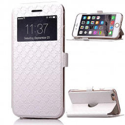 Opening Window Magnetic Stand Flip Leather Case Cover for iPhone 6S Plus - White