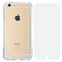 Slim Transparent TPU Case with Shockproof Particles Corner for iPhone 6S Plus with Tempered Glass - Blue