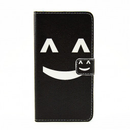 Lovely Painted Stand  Flip Wallet Card Pockets Phone Case Cover for Samsung Note 5 - Smilling Face