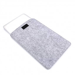 15 Inch Fashion Vertical Open Felt Sleeve Laptop Case Cover Bag for MacBook - Grey