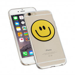 Clear Slim Soft TPU Back Cover Case for Apple iPhone 6 - Smiling Face