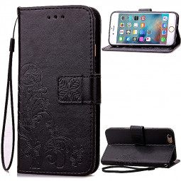 Lucky Clover Pattern PU Leather Flip Stand Wallet Cover Case for iPhone 6S Plus - Black