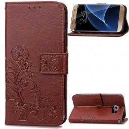 Lucky Clover Pattern PU Leather Flip Stand Wallet Cover Case for Samsung Galaxy S7 Edge - Brown