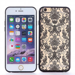 Embossed Rose TPU Phone Protective Back Cover Case for Apple iPhone 6S Plus - Black