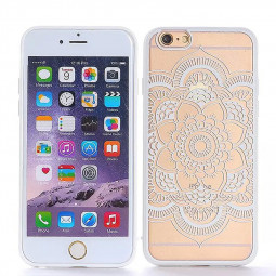 Embossed Datura TPU Phone Protective Back Cover Case for Apple iPhone 6S - White