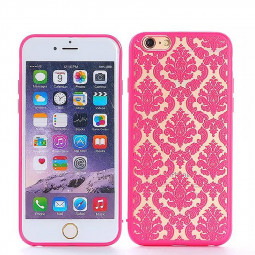 Embossed Auspicious TPU Phone Protective Back Cover Case for Apple iPhone 6S - Rose Red