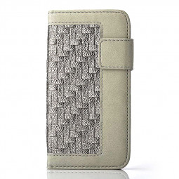 Stand Flip Wallet Credit Card Knit Weave Cover Case for iPhone 6S Plus - Grey + Silver