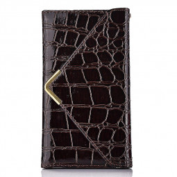 Crocodile Grain Magnetic Flip Wallet Case Cover for iPhone 6S Plus - Brown Red