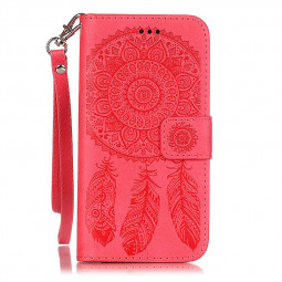 Dreamcatcher Embossed Stand Flip Wallet Credit Card Cover Case for iPhone 6S Plus - Red