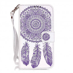 Dreamcatcher Embossed Stand Flip Wallet Credit Card Cover Case for Samsung Galaxy S7 - White Purple