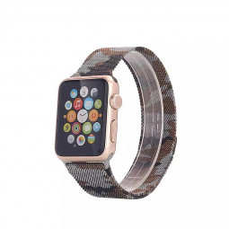 38mm Steel Military Army Magnetic Watchband Strap for Apple Watch iWatch - Camouflage Grey