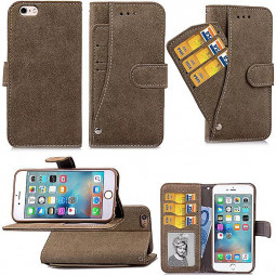 PU Leather Flip Card Pouch Flip Stand Phone Case Cover for Apple iPhone 6 - Brown