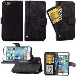 PU Leather Flip Card Pouch Flip Stand Phone Case Cover for Apple iPhone 6 Plus - Black