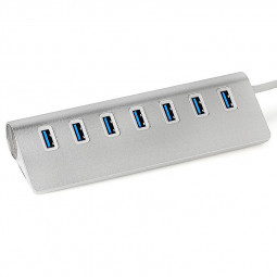 Aluminium High Speed USB 3.0 7 Port  Hub 5Gbps Data Cable - White
