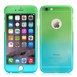 Full Coverage Colorful Hard Shockproof Cover with Tempered Glass Screen Protector for iPhone 6 - Blue + Green