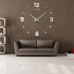 DIY Numbers Frameless Quartz Modern 3D Big Mirror 12 Hours Wall Clock - Silver