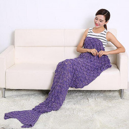 Sofa Beach Quilt Rug Knit Fish-Scale Pattern Blanket Mermaid Tail - Purple